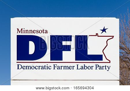 ST. PAUL MN/USA - JANUARY 14 2017: Minnesota DFL party sign and logo. The DFL is a social liberal political party in the U.S. state of Minnesota.