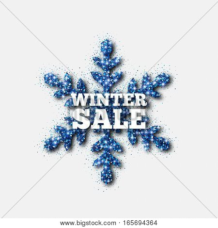 Winter Sale Banner, Blue Glitter Snowflake, Vector Illustration