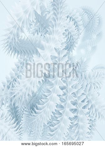 White background with abstract futuristic frost shape in empty space. 3d rendering