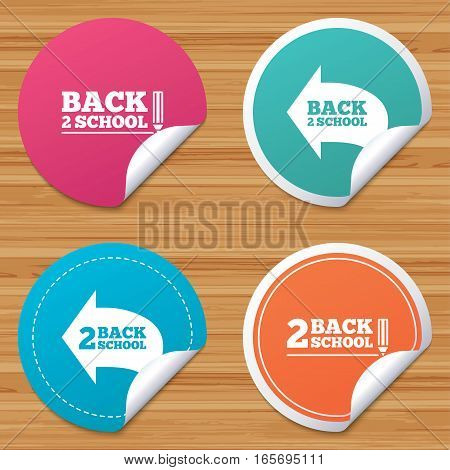 Round stickers or website banners. Back to school icons. Studies after the holidays signs. Pencil symbol. Circle badges with bended corner. Vector