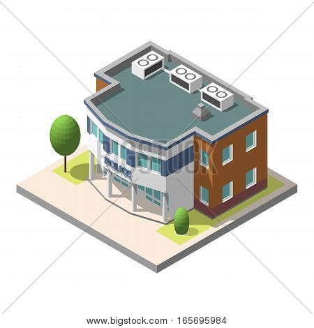 Vector isometric police department building . Isolated on white background. Infographic element