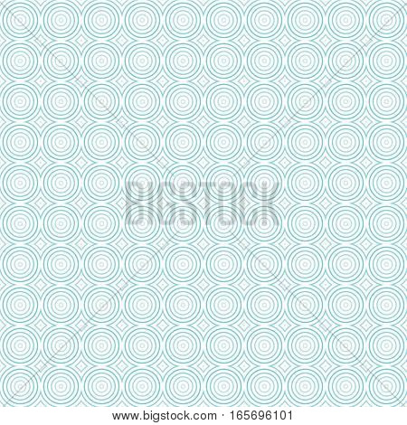 Seamless geometric pattern of concentric circles. Shades of light blue. Transparent background.