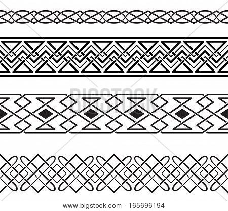 Set of black ornate borders. Visually intertwining curves. Pattern brushes are included in vector file.