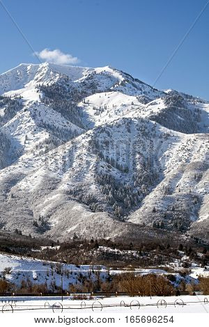 mountain scene in ogden north of salt lake city where there is famous skiing and snowboarding and winter sports