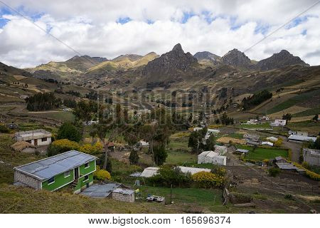 small high altitude indigenous village in the Ecuadorian Andes