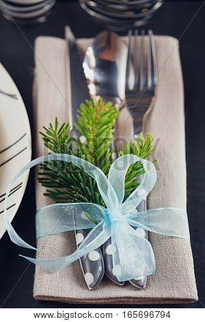 Winter Table Setting With Christmas Decoration