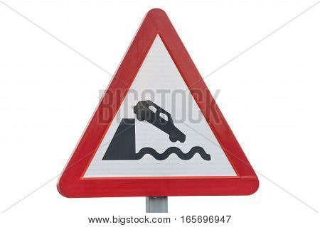 road sign quayside or river bank isolated on white background