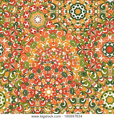 Seamless colorful ethnic pattern with mandalas in oriental style. Round doilies with green, red and orange curls and swirls weaving in arabesque traditional lace ornament. Vector illustration.