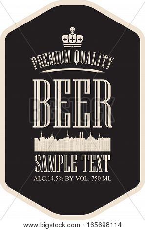 label beer with the old town and the crown