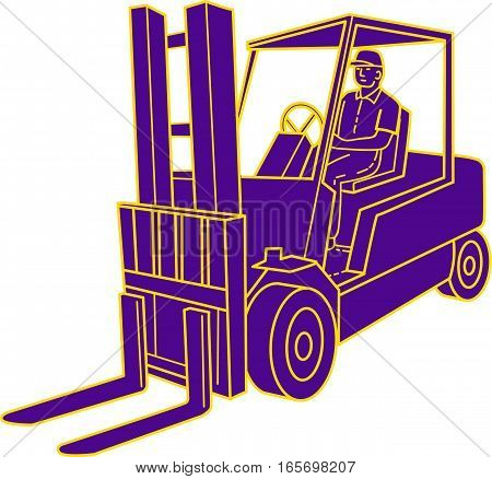 Mono line style illustration of a forklift truck with driver driving viewed from the front set on isolated white background.