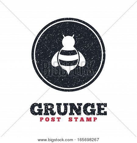 Grunge post stamp. Circle banner or label. Bee sign icon. Honeybee or apis with wings symbol. Flying insect. Dirty textured web button. Vector