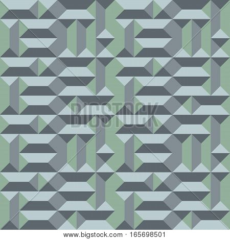 Seamless geometric architectural pattern. Convex metallic texture with rectangular and square pyramids. Gray green colored background. Vector