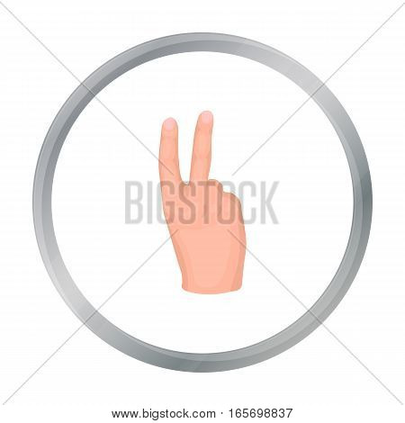 Victory sign icon in cartoon style isolated on white background. Hand gestures symbol vector illustration.