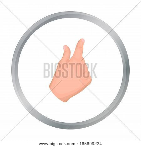 Zoom in gesture icon in cartoon style isolated on white background. Hand gestures symbol vector illustration.