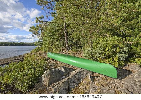 Canoe at a Wilderness Campsite on Carp Lake in Quetico Provincial Park in Ontario