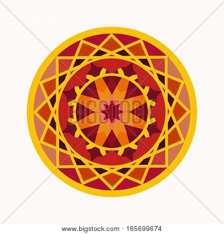 Mandala tattoo icon. Geometric round stylized ornament. Harmony, luck, infinity symbol. Red, yellow, brown colored. Vector