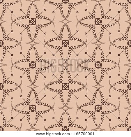 Religion seamless pattern. Laurel wreath, lace view texture with cross. Ceremonial, funeral background. Swirl stylized ornament. Brown, tan contrast colored. Vector