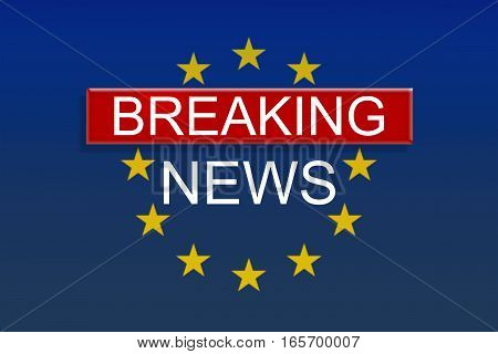European Union News Background: Breaking News With EU Flag 3d illustration