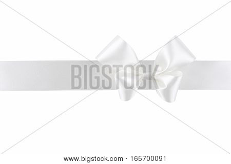 White silk ribbon with bow isolated on white background