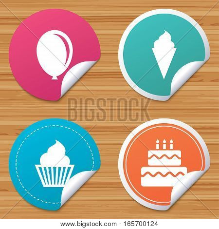 Round stickers or website banners. Birthday party icons. Cake with ice cream signs. Air balloon symbol. Circle badges with bended corner. Vector