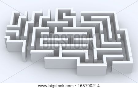 3D Rendered Illustration of a maze over white background.  Multiple entrances and exits.