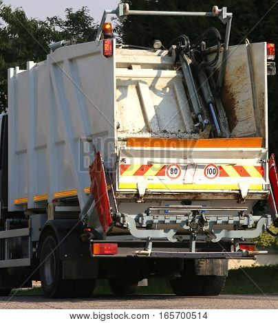 Waste Collection Vehicle Operating In The Streets