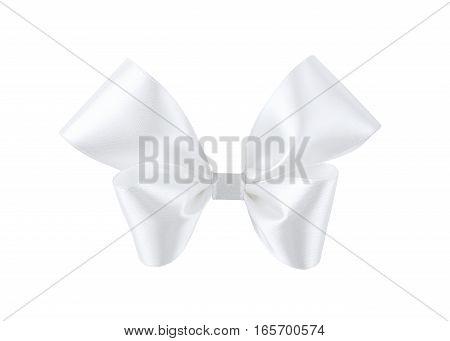 White silk ribbon bow isolated on white background