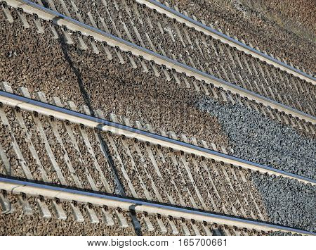 Train Tracks Background With Iron Rails