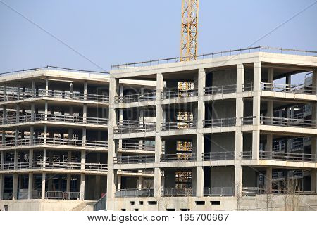 Large Building Under Construction With Reinforced Concrete Walls