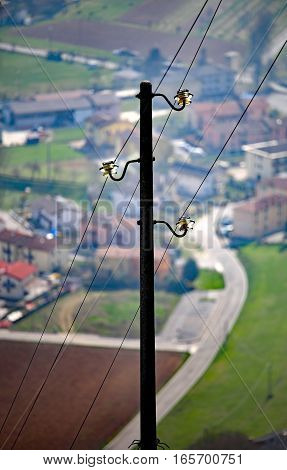 Light Pole With Three Wires Of The Power Line To Supply Electric