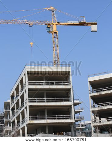 Very Large Building Under Construction With Concrete Walls And A