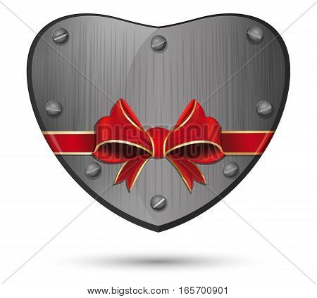 Iron heart. Metal heart tied with red ribbon. Vector illustration
