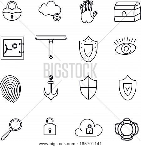 Security icons set. Exclusive and quality. Rounded padlock,  cloud with padlock,   handprint biokey,  dower  chest , safe, scraper for windows, shield, eye, fingerprint,  anchor, magnifier, lifebuoy.