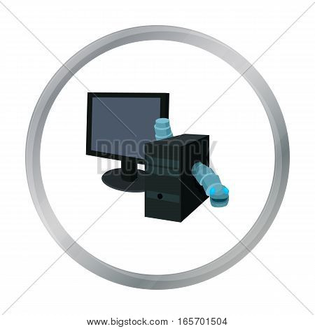 Computer worm icon in cartoon design isolated on white background. Hackers and hacking symbol stock vector illustration.