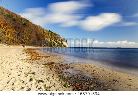 picturesque landscape of cliff in gdynia orlowo on baltic sea in Poland in the autumn
