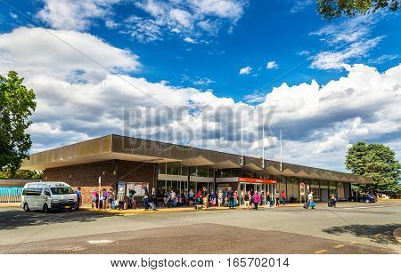 Canberra, Australia - December 27, 2016: Canberra railway station, the Australian Capital Territory. It is located in the Canberra suburb of Kingston.