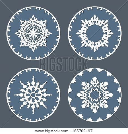 Christmas snowflake icon set. Ornamental view snow signs. Winter, New Year, holiday symbol. White gray silhouette on background. Vector isolated