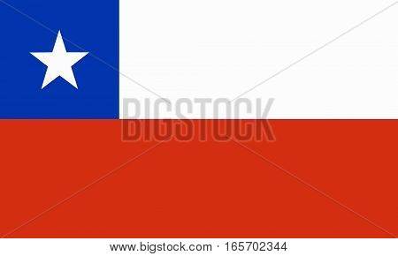 flat chilean flag in the colors blue, red and white