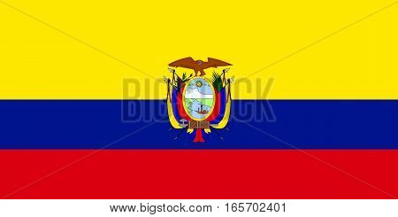 flat ecuadorian flag in the colors blue, red and yellow