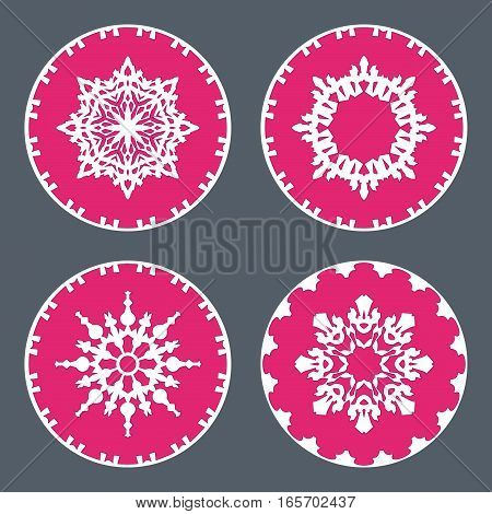 Christmas snowflake icon set. Ornamental view snow signs. Winter, New Year, holiday symbol. White magenta silhouette on gray background. Vector isolated