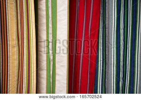 colourful indigenous textile closeup in Otavalo Ecuador