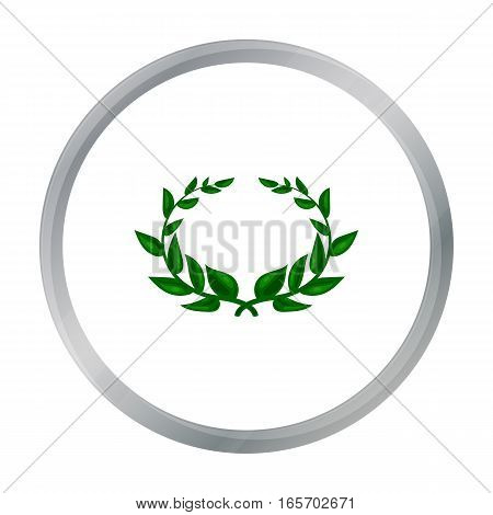 Laurel wreath icon in cartoon style isolated on white background. Greece symbol vector illustration.