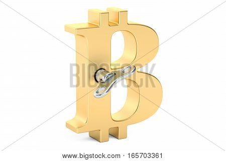 Golden bitcoin symbol with wind-up key 3D rendering