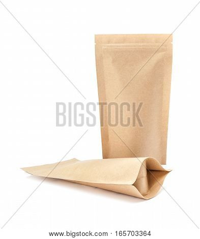 blank packaging recycle kraft paper pouch isolated on white background ready for package design