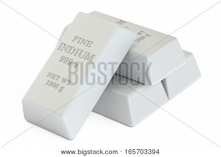 Indium bars 3D rendering isolated on white background
