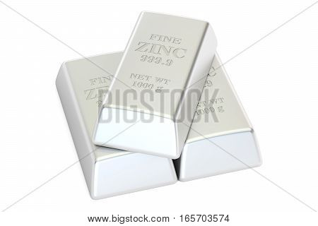 Zinc bars 3D rendering isolated on white background