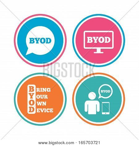 BYOD icons. Human with notebook and smartphone signs. Speech bubble symbol. Colored circle buttons. Vector