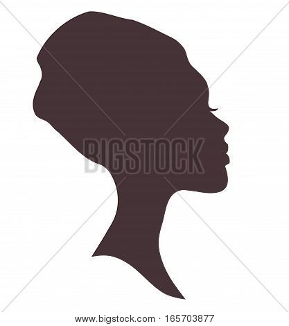 African woman face silhouette in national headdress.