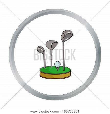 Golf ball and clubs on grass icon in cartoon style isolated on white background. Golf club symbol vector illustration.