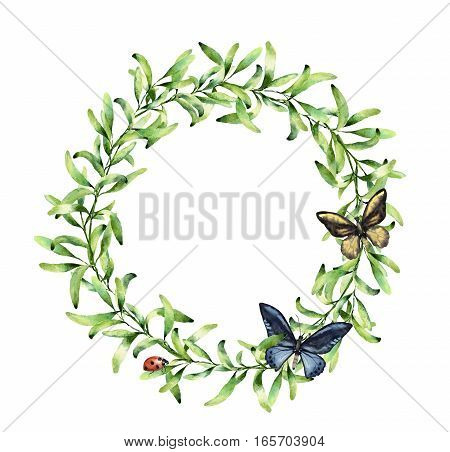 Watercolor wreath with spring herbs, butterfly and ladybug. Hand painted floral border isolated on white background. Botanical illustration with green branches and insects for design